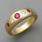 Other Rings 1-10: Flush set round diamonds and rubies in yellow gold