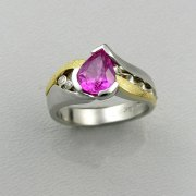 Other Rings 1-8: Pear shaped pink sapphire in platinum with 18k yellow gold accents