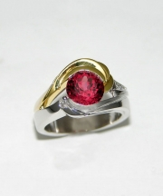 Other Rings 3-5: Round red spinel partial bezel set with diamonds in white and yellow gold