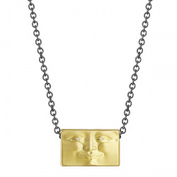 Brickface Pendant with Diamond Eyes and Sterling Silver Chain