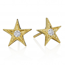 18k Yellow Five Point Star Stud Earrings set with Diamonds