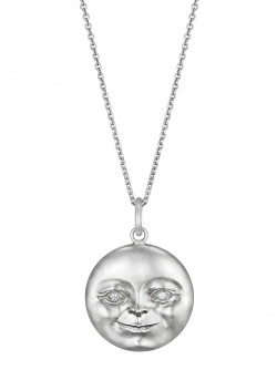 Sterling Silver Moonface Pendant with Diamond Eyes