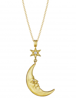 18k Yellow Star Struck Crescent Moonface Pendant with Diamond Eyes