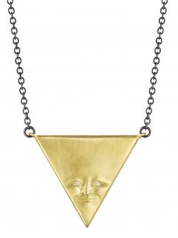 Inverted Triangleface Pendant with Diamond Eyes and Sterling Silver Chain