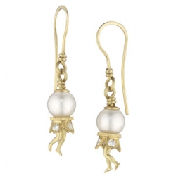 18k Yellow Bosch Pearl French Wire Earrings with White South Sea Pearls