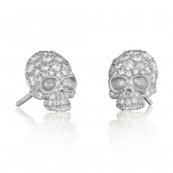 Pavé 18k White gold Skull Stud Earrings