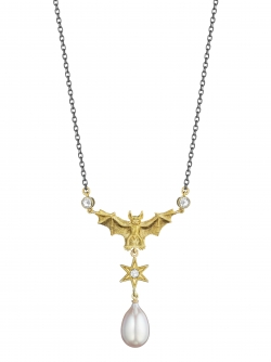 18k Yellow Flying Bat Pearl Necklace with Rose cut Diamonds and Sterling Silver Chain