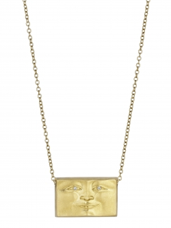 18k Yellow Brickface Pendant with Diamond Eyes
