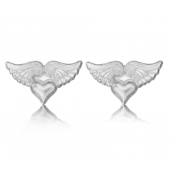 Sterling Silver Winged Heart Stud Earrings