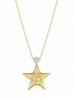 18k Yellow Diamond Starface Pendant with Diamond Eye