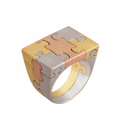Anel 18kt. yellow, white and rose gold Puzzle Ring