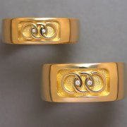 Bands 1-5: His and Hers bands in yellow gold