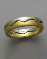 Bands 3-11: Open wave pattern in platinum and 18k yellow gold