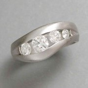 Bands 1-11: Platinum band with curved channel of round diamonds