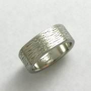 Bands 1-9: 14kt. white gold band with heavy texture and squared shoulders
