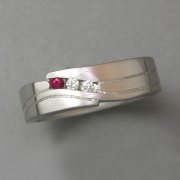 Bands 2-8: Small diamonds and ruby in a squared style white gold band