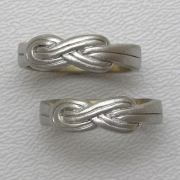 Bands 3-4: His and Hers knotted bands in white gold