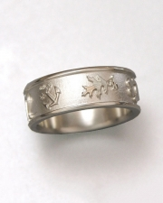 Bands 1-7: 14kt. white gold band with Oak leaf and other symbols