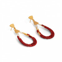 24karat Gold Plated Sterling Silver and Sponge Coral Earrings