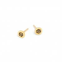 24karat Gold Plated Silver earrings with Black Spinel