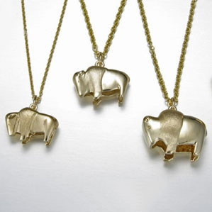 14kt. Yellow Gold Buffalo pendants
