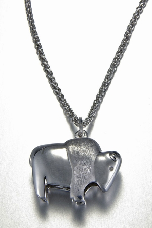 14kt. White Gold small Buffalo pendant