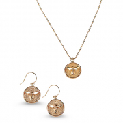14K Yellow gold Medallion Necklace and Earrings