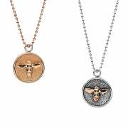 Silver _ 14K Yellow gold Medallion Pendants