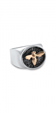 Small Silver Signet ring with 14K Yellow Bee
