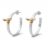 Sterling Silver Hoop earrings with 14K Yellow Bee