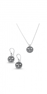 Sterling Silver Medallion Necklace _ Earrings