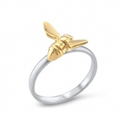 Sterling Silver ring with 14K Yellow Bee