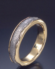 Meteorite & 18k Yellow gold rolled edge ring