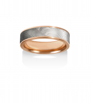 Breeze pattern Damascus Stainless Steel ring with 14k Red gold narrow rails and lining