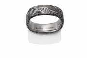 Breeze pattern Naked Damascus Stainless Steel, soft square shape, black oxidized