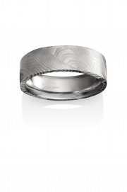 Breeze pattern Naked Damascus Stainless Steel ring