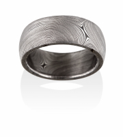 Starlight pattern Naked Damascus Stainless Steel ring