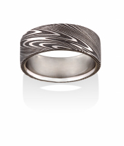 Thor pattern Naked Damascus Stainless Steel ring, Oxidized