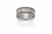 Angles pattern Damascus Stainless Steel ring with PD950 rails set with Black Diamonds, concave profile