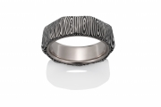 Angles pattern Damascus Stainless Steel ring with 18k PD White gold lining and angled facets