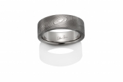 Pathways Naked Damascus Stainless Steel ring, Oxidized