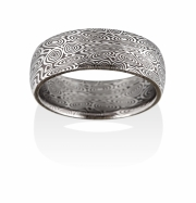 Remington pattern Naked Damascus Stainless Steel ring, Oxidized