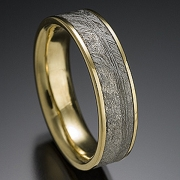 22k, Silver and 18k Yellow gold Classice Mokume Gane pattern, etched