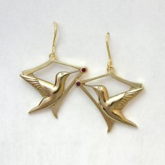 14kt. yellow gold hummingbird earrings with rubies and diamond eyes