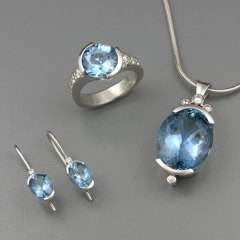 14kt. white gold custom aquamarine and diamond pendant, ring and earrings set