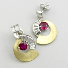 14kt. white gold and 18kt. yellow gold ruby and diamond earrings
