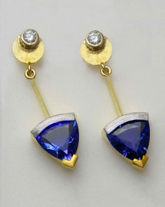 18kt. yellow gold, 24kt. yellow gold and Platinum tanzanite and diamond earrings