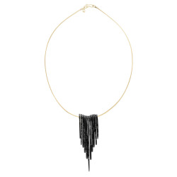 Whitby Jet Black diamond feather necklace