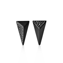 Whitby Jet faceted stud Earrings set with Black Diamongs