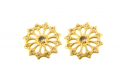 18k Yellow gold Mandala Diamond Stud Earrings